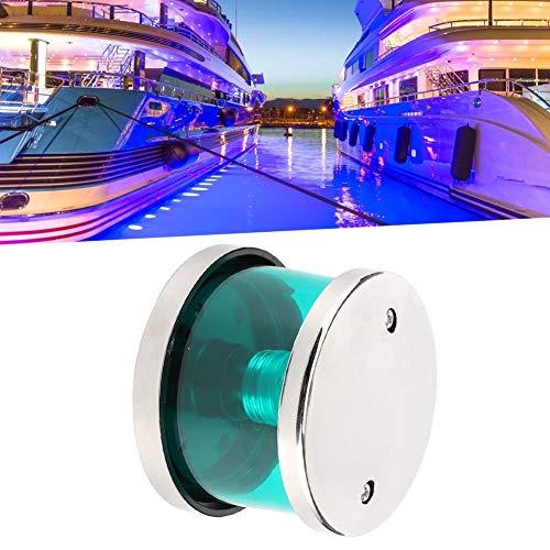 Akozon Housing Signal Lamp,Navigation Signal Light,1Signal Light,2V 360° IP66 Green LED Navigation Warning Light Transparent Housing Signal Lamp for Yachts Fishing Boats