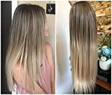 24 Inches Half Head Wig Long OMBRE 3/4 Weave Brown Blonde (Straight-Medium ash brown to sandy blonde)