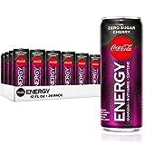 Coke Energy Zero Sugar Cherry, Cherry Energy Drinks with Vitamin B6, 144 mg Caffeine, 12 fl oz, 24 Pack