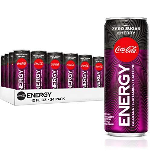 Coke Energy, Cherry Coke Energy Drinks With Vitamin B6, Vitamin B3 & Guarana, 144 Mg Caffeine, 12 Fl Oz, 24 Pack