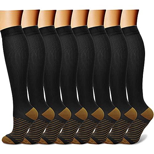 CHARMKING Calcetines de compresión para hombres y mujeres, 15-20mmHg, son el mejor soporte para atletismo y ciclismo, 8 pares, XL, 30 rayas negras/marrones.