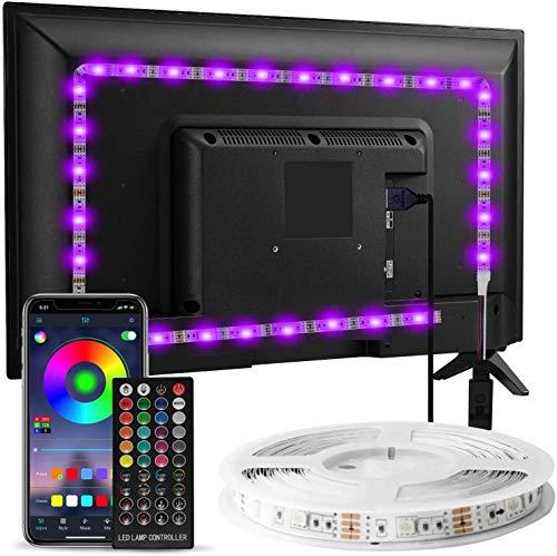 Striscia LED TV Retroilluminazione, Enteenly 3m Luci LED USB Alimentata con Telecomando e controllo APP, Striscia Luminosa a LED RGB 5050 per HDTV da 40-55 Pollici, PC Monitor
