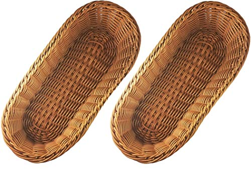KOVOT Poly-Wicker Bread Basket Set of 2 - 14.5' Woven Polypropylene