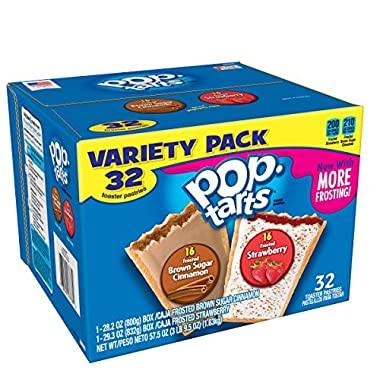Pop-Tarts Breakfast Toaster Pastries, Flavored Variety Pack, Frosted Brown Sugar Cinnamon, Frosted Strawberry, 57.5 oz (32 Count)