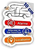 SC  - Sticker/Autocollant - Camping-Car/Alarme/Détecteur Gaz/Localisation - Fabrication Française (Hauteur...