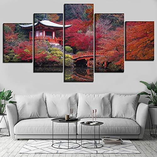 Cuadro en Lienzo Otoño Japón Jardín Puente Edificio Moderno Impresión de 5 Piezas Impresión Artística Imagen Gráfica Decoracion de Pared - Enmarcado