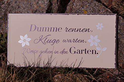 Bo Metall Schild - Dumme rennen, Kluge warten 40x20cm Blütenmotiv Spruch Dekoration