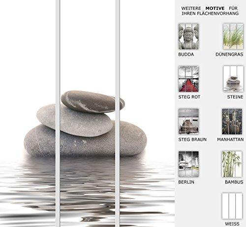 3er Set Flächenvorhang - Motiv Steine und Wasser - halbtransparent und lichtdurchlässig - Paneelbreite: 60 cm x H: 245 cm - Gesamt 180 x 245 cm - incl. Flauschband, Paneelwagen und Beschwerungsprofil