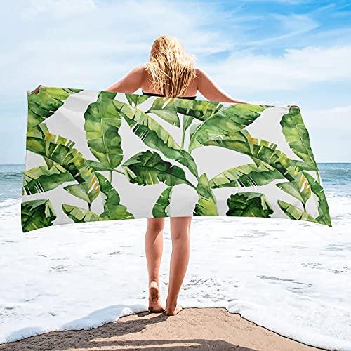 Foglia di banana Foglie di piante tropicali Bagno Asciugamano da bagno Asciugamani da spiaggia in microfibra Asciugamano da golf sportivo morbido ad asciugatura rapida - 75 * 150cm