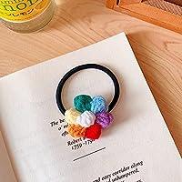 ヘアーリング スイート 女性 虹 ヘッドウェア 羊毛 ヘアクリップ キャンディ フラワーヘアーロープ 韓国風バレッタ 女性ヘアピン ヘアアクセサリー(B Hair Rope)