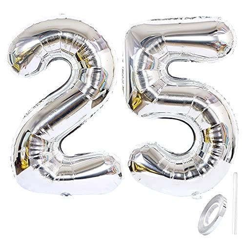 Liitata Globos con número 25 plateados con número 25, tamaño XXXL, globos...