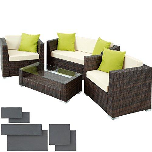 TecTake Set di mobili rattan alluminio arredamento giardino +2 Set di rivestimenti per cusci + 4 cuscini extra, viti in acciaio inox - disponibile in diversi colori - (Marrone/Nero)