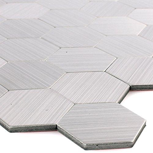 Metall Mikros Fliesen Silber Selbstklebend (Hexagon)