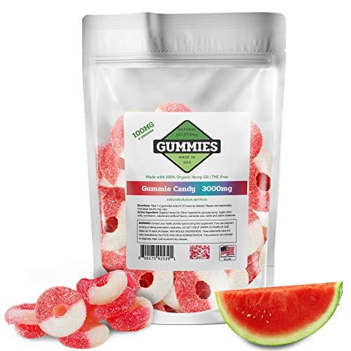 Hemp Gummies - 3000 mg per Bag - 30ct Premium Watermelon Rings - 100mg per Gummy - Organic Hemp + MCT - 0% THC - Relief for Stress, Pain, Inflammation, Anxiety, Depression, Nausea, Omega 3,6,9