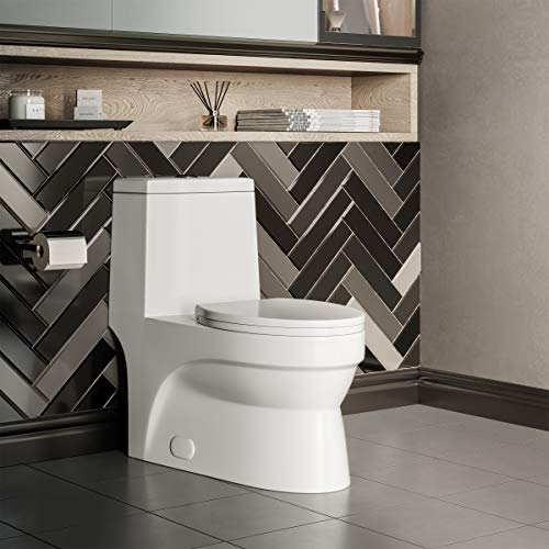 Swiss Madison Well Made Forever SM-1T118 Virage One Piece Elongated Dual Flush Toilet 0.8/1.28 gpf, Glossy White