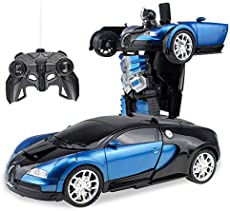 Cargooy RC Robot Car for Kids,Deformation Car for Kids, Remote Control Transform Robot Toys for Boys Girls, Electronic RC Transform Car Robot with One Button Transformation 1:18 Scale (Black/Blue)