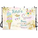 MEHOFOTO Summer Colorful Ice Cream Themed Photo Studio Background Princess 3rd Birthday Party Gold Dots Banner Photography Backdrops for Picture 7x5ft