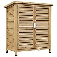 Outsunny Garden Shed Wooden Garden Storage Shed 2 Door Unit Solid Fir Wood Garage Tool Organisation ...