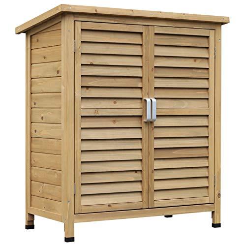 Outsunny Cobertizo de Almacenamiento de Madera para Jardín con Estantes Interiores 2 Puertas y Techo Inclinado 87x46.5x96.5 cm
