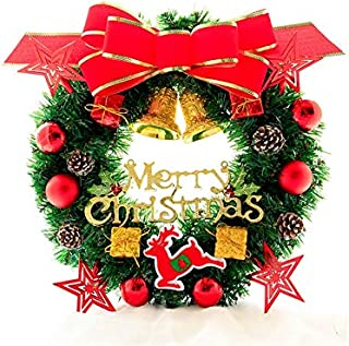 Pengcher Bow-Knot Christmas Wreath Door Hanging Ornaments Room Christmas Tree Pendants for Decoration(Red)