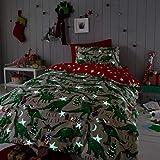 Happy Linen Company Girls Boys Kids Christmas Dinosaur Glow In The Dark Taupe Natural Single Reversible Duvet Cover Bedding Set