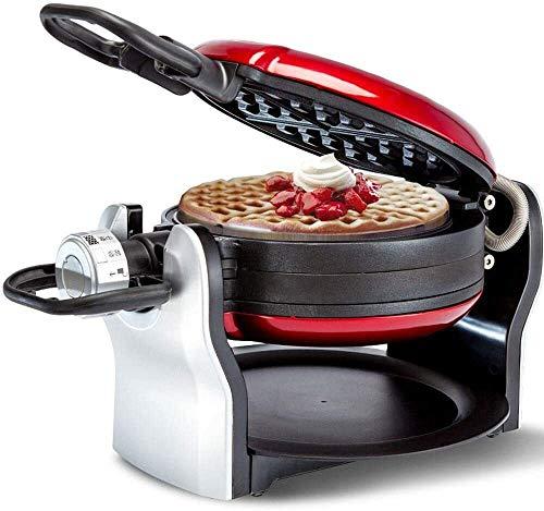 Máquina para hacer gofres belgas Red Flip, giro de 180 ° con placas antiadherentes extraíbles, control de dorado Deliciosamente fresco y uniforme, bandeja de goteo, acero inoxidable, cocina hasta 4 go
