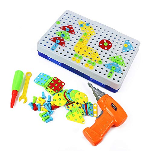 234 Pieces Building Block Games Set with Electric Drill Screw Tool Set, DIY Educational Construction Games Develop Fine Motor Skills Jigsaw Puzzles Gifts Set for Boys and Girls