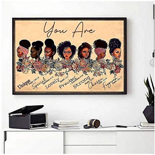 Ilustración de niña negra africana Pintura de lienzo de arte abstracto Eres negro Cotizaciones Carteles e impresiones Imagen de pared para decoración de sala de estar-50x75cm Sin marco