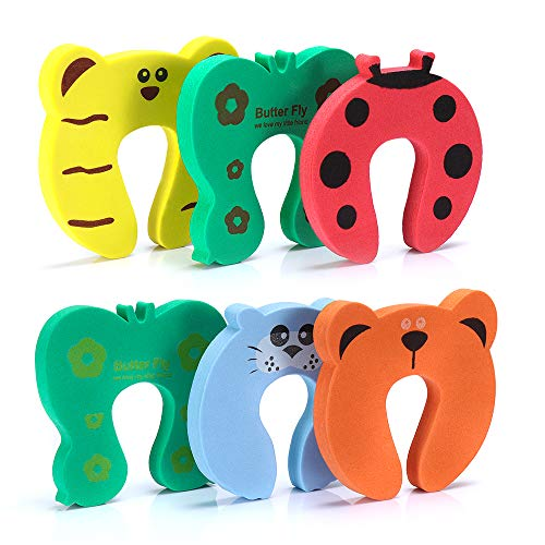 6PCS Finger Pinch Guard, Baby Proofing Doors Made with Soft Foam Cushion Yet Durable,Cartoon Animal Door Stopper, Prevent Finger Pinch Injuries, Slamming Door, Kids & Pets from Getting Locked in Room