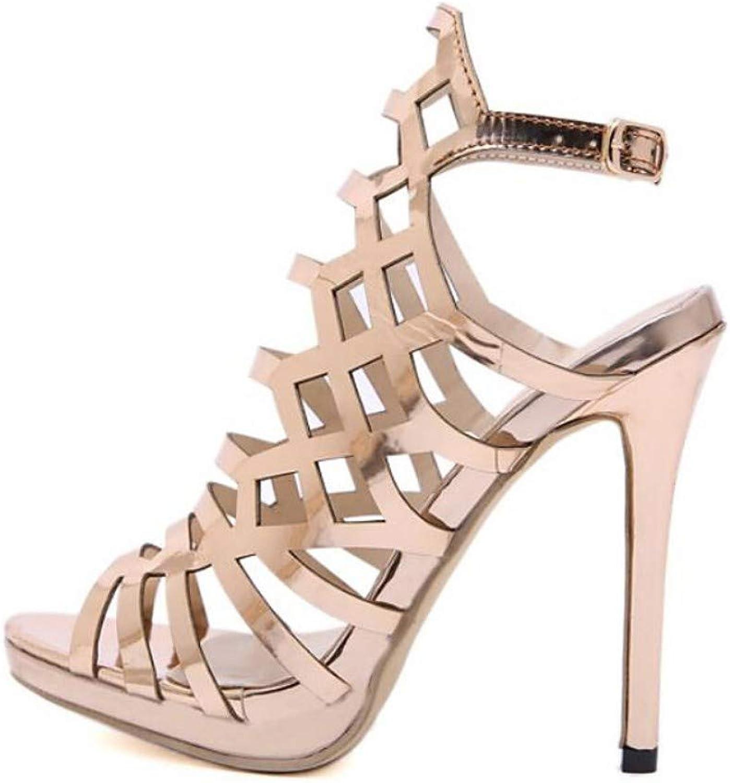 ZHZNVX Women's PU Spring & Summer Classic Sandals Stiletto Heel Open Toe gold