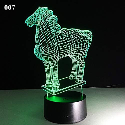 Luz nocturna 3D acrílico ilusión estéreo 7 color regalo de recuerdo hermosa iluminación del dormitorio