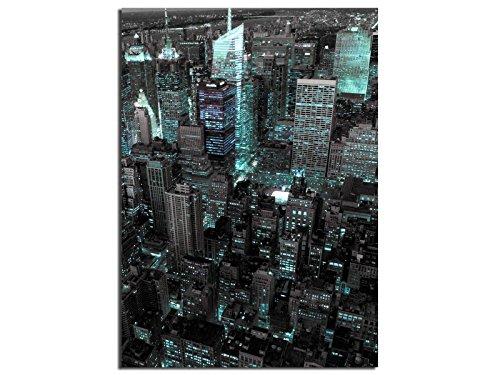 Alu-Dibond Bild EG4705001101 DEKO 50 x 70 cm NEW YORK USA CYAN ,Metallbild, gebürstete Oberfläche (Butlerfinish©), INKL. Aufhängesystem-Set