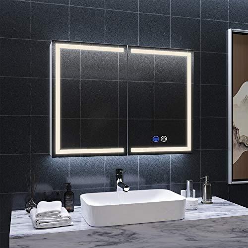 DICTAC spiegelschrank Bad mit LED-Beleuchtung und Steckdose 80x13.5x60cm 3 Farbtemperatur dimmbare mit Touch-Schalter Defogging-Funktion Metall Hängeschrank mit Europäische Konverter Britische Stecker