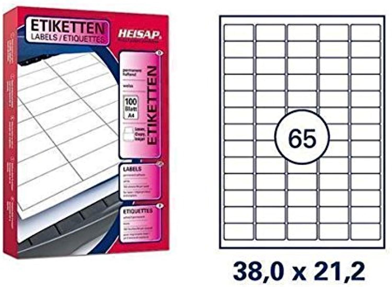 13.000 Bogenetiketten Bogenetiketten Bogenetiketten 38 x 21,2mm DIN A4 Universal-Aufkleber - 200 Bögen B01MZ965EC | Komfort  ead80f
