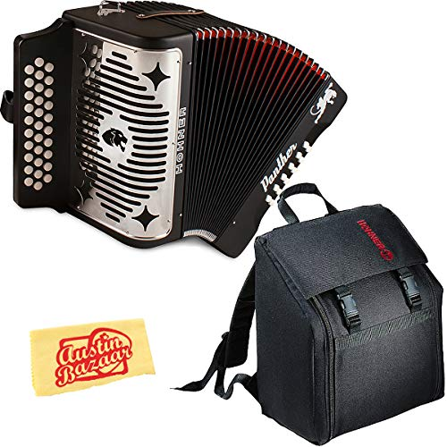 Hohner Panther Diatonic Accordion - Keys G/C/F Bundle with Gig Bag and Austin Bazaar Polishing Cloth