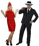 Costume in maschera anni 20 per coppia: abito da uomo gessato da gangster e vestito da donna Charleston. Costume da uomo: abito da gangster gessato con giacca a 2 bottoni e pantaloni elasticizzati, con cappello in feltro nero e striscia bianca satina...