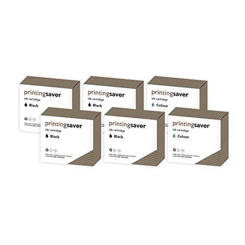 Printing Saver 350XL & 351XL SCHWARZ (4) FARBIG (2) Tintenpatronen kompatibel für HP Photosmart C4280 C4380 C4480 C4485 C4580 C5280 D5360 Officejet J6410 J6415 Deskjet D4260 D4360