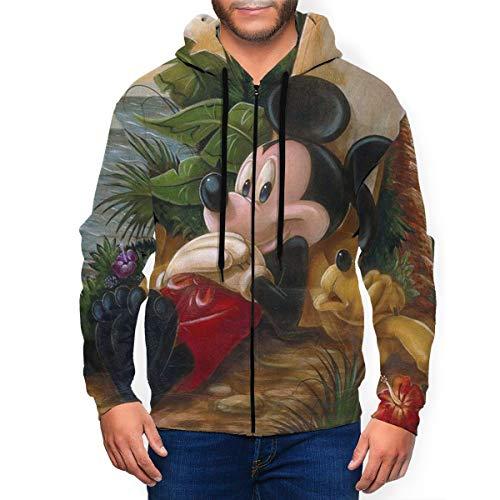 Mickey Mouse Sudadera con capucha y bolsillo con cremallera para hombre, abrigo deportivo casual