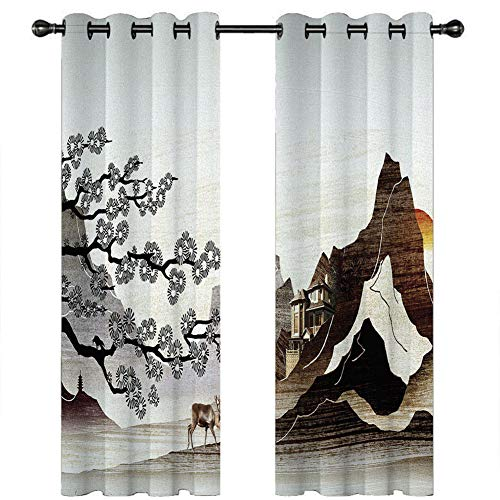 JLCP 2 Panels Blackout Curtains Bedroom, 3D Elk Flower Print Pencil Pleat Curtains with Eyelet Thermal Insulated Soundproof for Kids Room Living Room,2,203x160cm