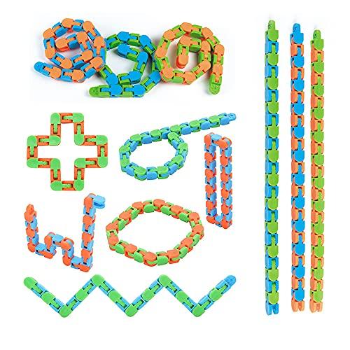 EACHHAHA Wacky Tracks Zappeln Spielzeug Schlangenkette Puzzle Sensorisch Einfaches Zappeln Spielzeug Zum Stressabbau Rompecabezas Rompecabezas Grandes Juguetes de Fiesta (12 Unidades)