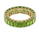 Anillo de compromiso de eternidad con peridoto de 8,40 quilates, certificado por laboratorio, piedra verde antiguo, anillo de boda vintage, 14K Oro amarillo, Size:EU 47