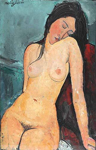 JH Lacrocon Amedeo Modigliani - Nue d'une Jeune Fille Tableau Reproduction sur Toile Roulée 40X60 cm - Nu Peintures Impressions pour Mur
