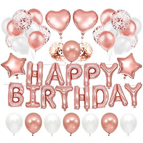 AnCoSoo Decoración de cumpleaños en oro rosa, pancarta Happy Birthday Decorations Globo, confeti de color oro rosa, globos para decoración de cumpleaños para niñas