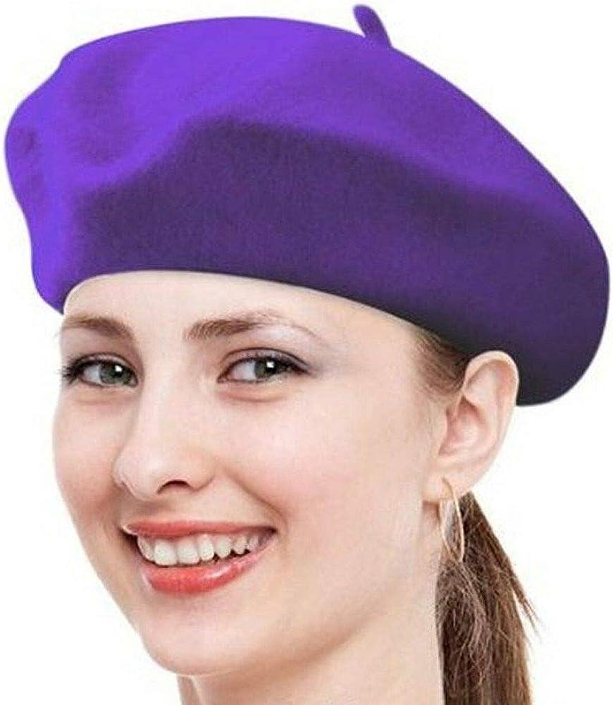 Purple Caps for Women Hat French Winter New Womens Beret Girls Ski Warm Artist Tkmiss
