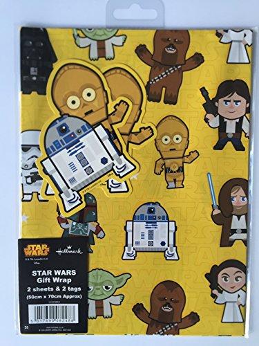 Hallmark Star Wars papel de regalo 2 Hojas 2 Etiquetas