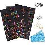 Deer Platz Scratch Art, 50 Rainbow Scraping Art e Artigianato per Bambini Black Magic Scratch Art Paper, con 5 Penne Stilografiche in Legno e 4 Righelli da Disegno e 1 Temperamatite(21 x 29.7cm)