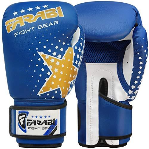 FARABI 6-OZ Guantes de Boxeo para niños Guantes de Boxeo Junior para formación Lucha de Combate Rutina de Ejercicio Color Azul 6 oz