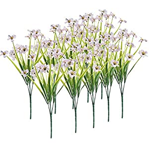 10Bundles Artificial Flowers, Outdoor Artificial Flowers Plastic Flowers Faux Greenery Shrubs Plants Artificial Daffodils Indoor Outside Hanging Planter Home Wedding Garden Decor
