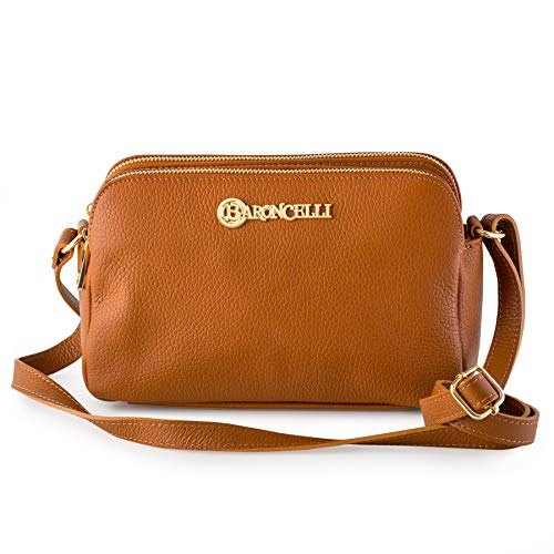 100% Italian Leather Handbags for Women/Exquisite Collection of Classic Cross- Body Bags (Light Brown)