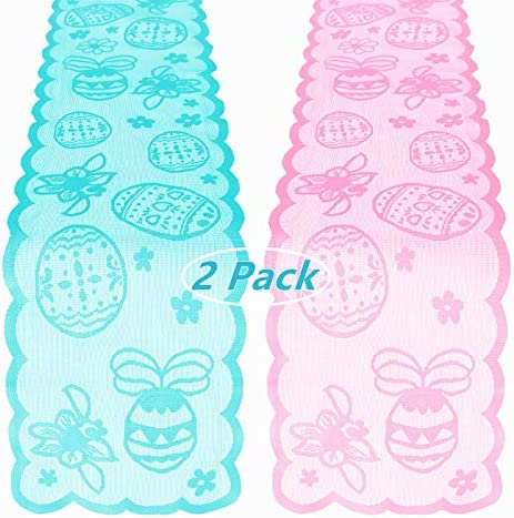 YBB 2 Pack Easter Table Runner 13 x 72 Inch Blue Pink Happe Easter Eggs Lace Embroidered Tablecloth product image